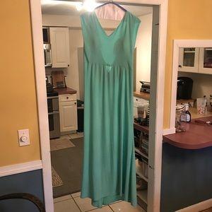 Thea Dora Teal Jeweled Back Prom Dress